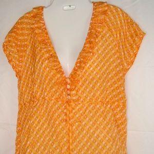 J.CREW Silk Blend Ruffle Trim Orange Top Sz 6